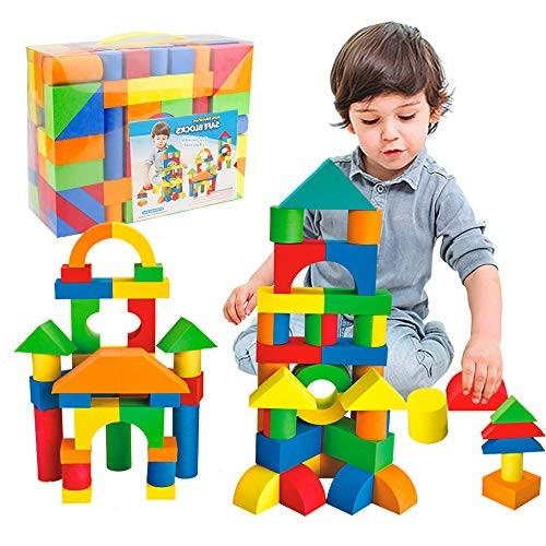 Mini Tudou 137 PCS Foam Blocks for Toddlers Soft Stacking Building Block Toys Set Kids Boys and Girls
