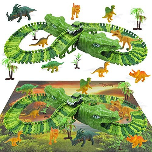 Dinosaur Track Changeable DIY Building Wooden Blocks Set Hole Scene Play Mat Carpet Toy for Girls and Boys Best