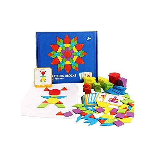 SYxx Educational Toy Children's Wooden Building Blocks 155PCS Early Education Puzzles Various Geometric Shapes Tangram Colored