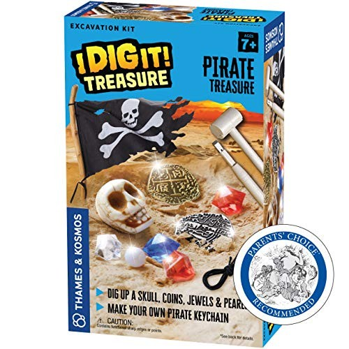 Thames & Kosmos I Dig It Treasure – Pirate Excavation Kit Explore Archaeology Out of a Plaster Block Unique Composition for Fun Dust-Free Educational Activity