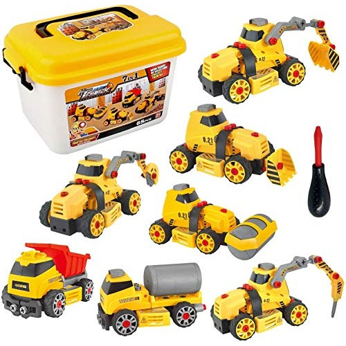 Sanlebi 7 in 1 Take Apart Toys Construction Vehicle Truck Assembly Car Play Set