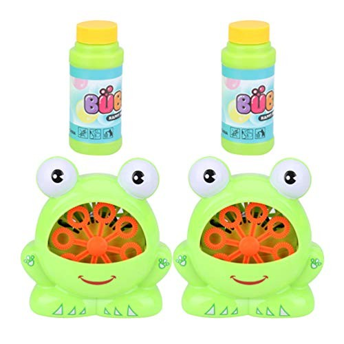 Garneck 2pcs Electric Bubble Machine Cartoon Frog Toy Engineering Kit Portable Maker for Children Playing Kids Without Battery