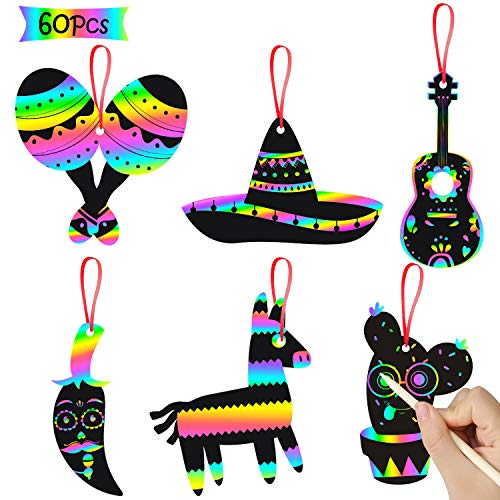 WATINC 60 pcs Mexican Fiesta Scratch Cards Art Set for Kids and Adults Cinco De Mayo Party Decorations Favor DIY Magic Rainbow Color Craft Kit Paper Ornaments Birthday