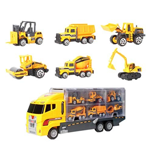 NUOBESTY 7pcs Kids Construction Cars Playset Miniature Engineering Vehicle Early Learning Pull Back Plaything for Children Little Boys