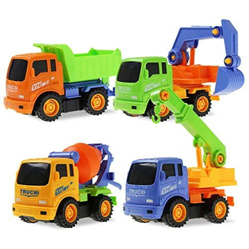 LHY NEWS Mini DIY Take Apart Engineering Car Tractor Dump Truck Model Toy Classic Construction Vehicles Building Play Set Children Toys
