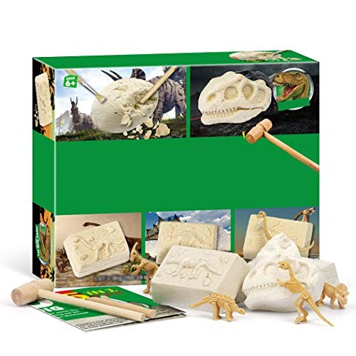 Coxeer Dinosaur Dig Kit Educational Creative 5 in 1 Digging Toy for Kids Best Unique Art Gift
