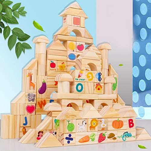 ocijf179 103Pcs Set Animal Number Blocks Wooden Castle DIY Building Kids Education ToyPerfect Training Children's Intelligence Gifts
