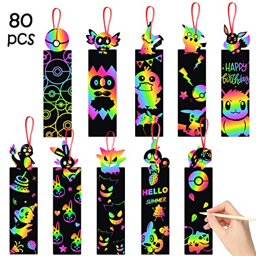 MALLMALL6 80Pcs Pikachu Scratch Bookmarks Rainbow DIY Crafts Kit for Kids Paper Cards Birthday Party Supplies Favors Classroom School Decorations