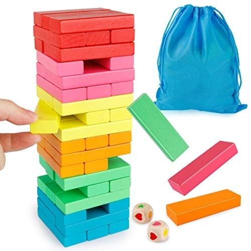 Coogam Wooden Blocks Stacking Game with Storage Bag Colorful Toppling Tower Building Balancing Puzzles Toys Learning Educational Sorting Family Games Montessori Gifts for Kids Toddlers