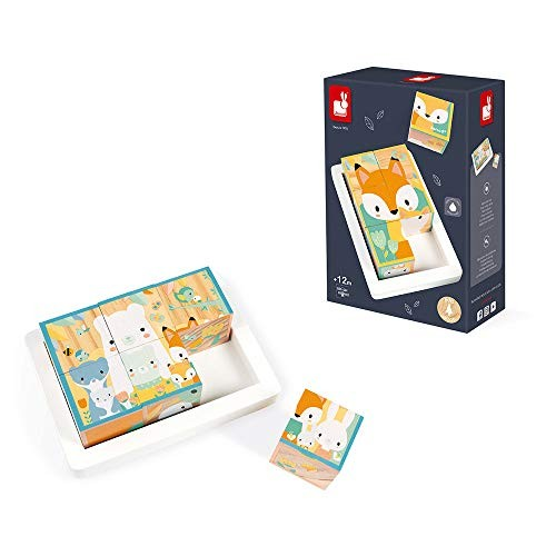 Janod 6 Block Tray – Wooden Building Set in Durable Storage Base Forest Animals Theme Babies First Puzzle Develops Fine Motor Skills Early Education Toy Ages 1+ Years