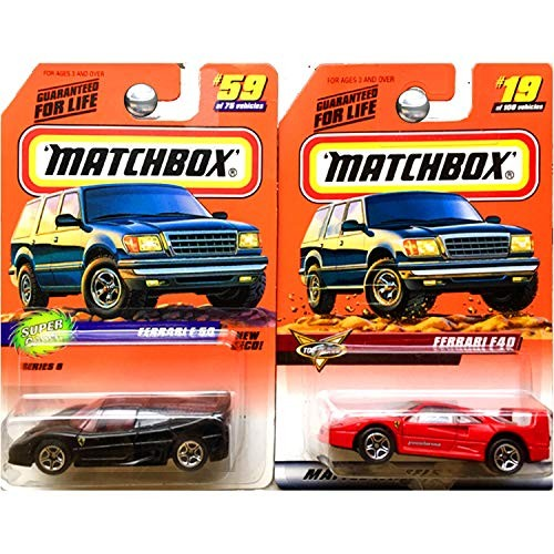super cars Matchbox and Top Class Ferrari F50 Black and F40 Red Set of
