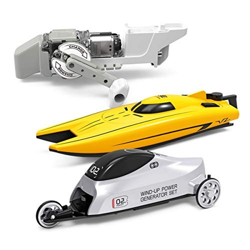 Science Kit for KidsSTEM Electricity Master Lab KitWind-up Power Car Hand Generator and Boat with Micro MotorDIY Educational Engineering Experiments Boys & Girls
