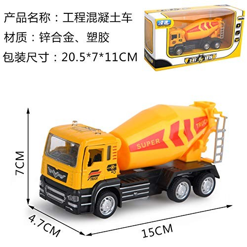 Alician Model Car Toy Kids Simulate Pull Back Alloy Engineering Vehicle Crane Excavator Shape Music Light Door Open for Boys Concrete