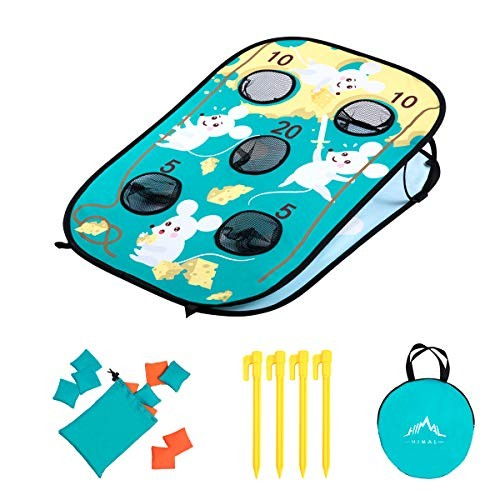 Himal Corn-Hole-Boards with Bean-Bag-Toss-Game Collapsible Portable 5 Holes Cornhole-Set with 10 Bean Bags Roman