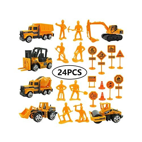 SYxx 24 Pcs Mini Alloy Engineering Toy Construction Vehicles Set for Children Excavator Forklift Road Sign People Children's Educational Model Car Kids