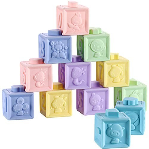 Alapaste Baby Building Blocks Soft Teethers Toys Educational Squeeze and Stack Block Set Bath Play with NumbersShapes for Age 6-36 Months12pcs