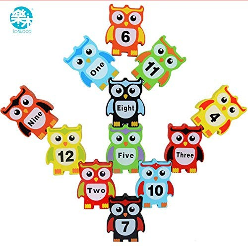Wooden Toy Building Block Owl Balance Table Game Early Educational Brick