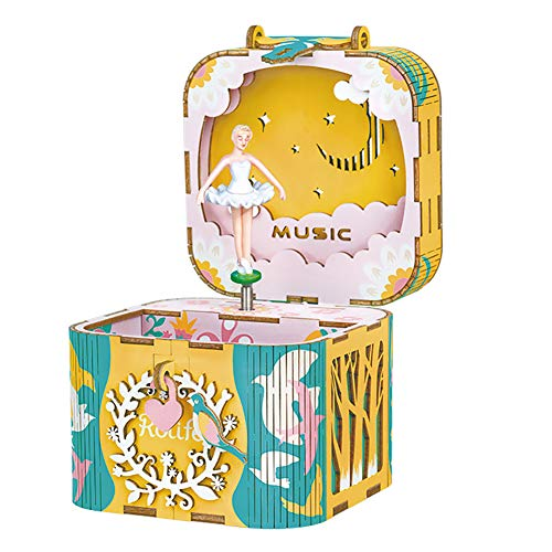 DIY Carousel Music Box Set 3D Wooden Assembly Puzzles Craft Model Kits with Inner Machine Play Songs Best Birthday Gift for Boys and Girls – Swan Lake Girl