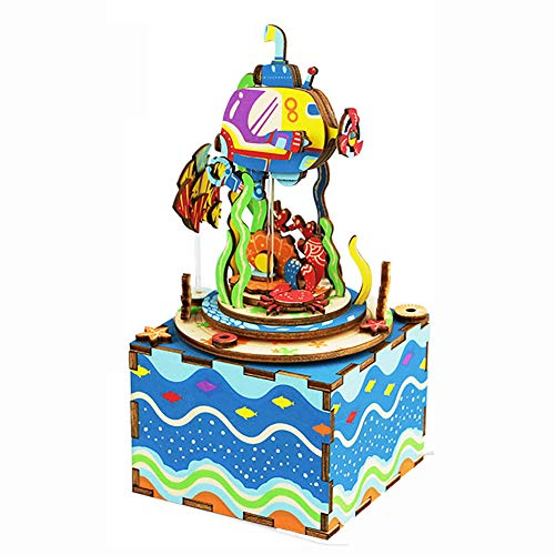 DIY Carousel Music Box Set 3D Wooden Assembly Puzzles Craft Model Kits with Inner Machine Play Songs Best Birthday Gift for Boys and Girls – Ocean World