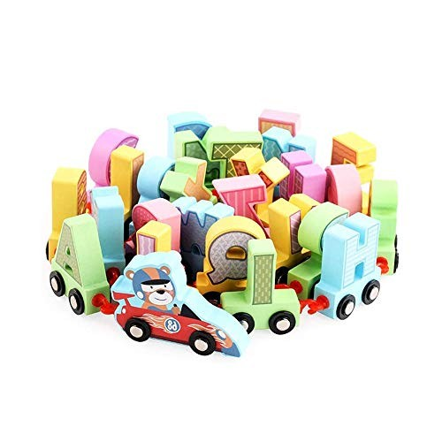 SYxx Children's Assembled English Alphabet Building Blocks Toys 1-4 Year Old Baby Early Education Puzzle Train Dragging Wooden Boys and Girls Birthday Gifts