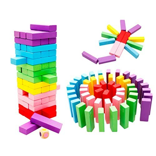 Kekailu Building Blocks Toy48Pcs Rainbow Color Wooden Children Assembling Educational Toys