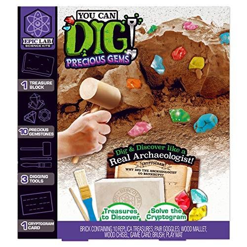 ArtSkills Epic Lab You Can Dig Precious Gems Kit 10 Piece Gem Replicas Tools Included