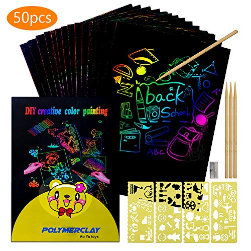 Scratch Art for Kids Arts and Crafts KidsGirls Toy Age 5 6 7 8 Gifts 3-8 Year Old Girl Boys Supplies Paper Toddler 4-11 Kits Birthday
