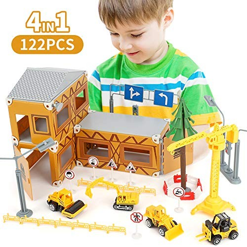 BeebeeRun Construction Toys for Kids – 122 PCS Kids Building Toys Construction Vehicles Toys
