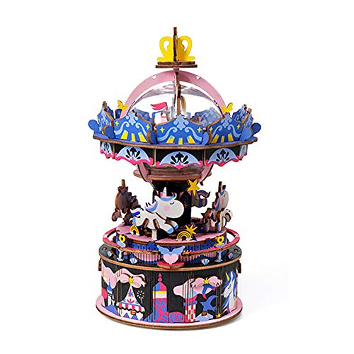 DIY Carousel Music Box Set 3D Wooden Assembly Puzzles Craft Model Kits with Inner Machine Play Songs Best Birthday Gift for Boys and Girls
