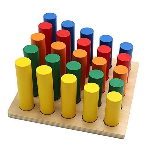 PandaLily Developmental Toy Wooden Cylinder Stepped Blocks Shape Pairing Matching Education Children