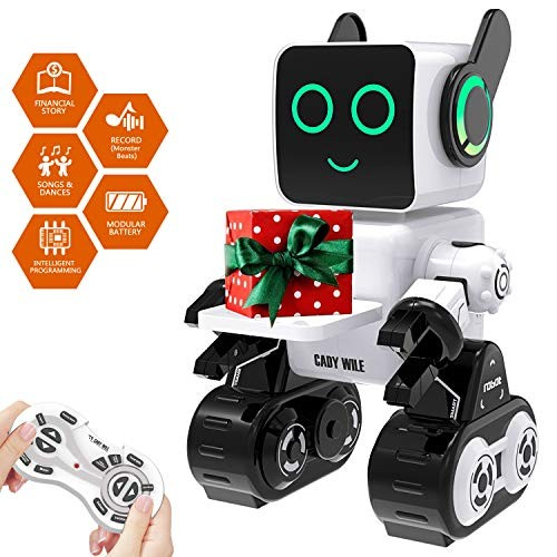 Robot Toy Remote Control for Kids Intelligent Programming RC Suitable Aged 3 and over to Sing Dance Talk Transfer Items Play with as a Gift Child white