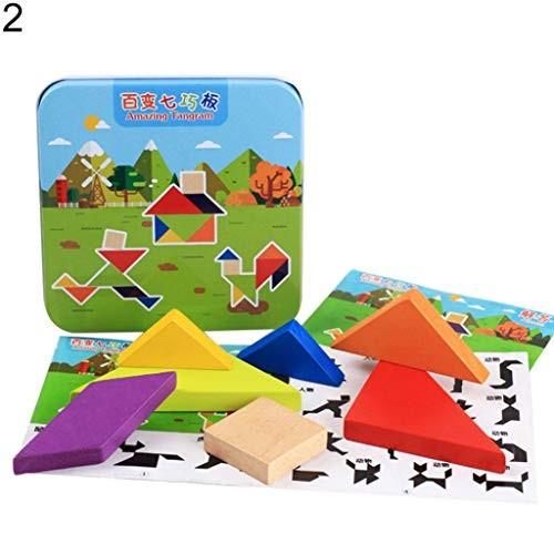 Kekailu Building BlocksWooden Baby Kids Educational Toys Jigsaw Puzzle Blocks Early LearningTangram