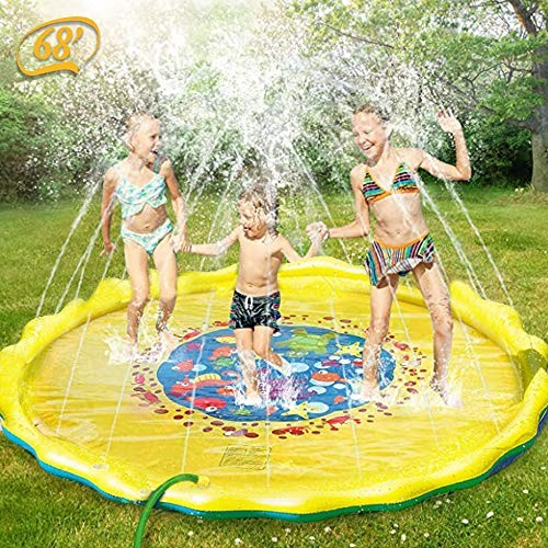 PGY 68 Inflatable Splash Sprinkler Pad for Kids Toddlers Dogs Outdoor Water Mat Toys