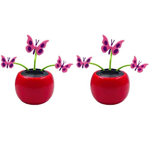TENDYCOCO 2pcs Solar Dancing Flowers Car Powered Toy Dashboard Ornaments Swinging Shaking Head Decor for Easter Carnival Party