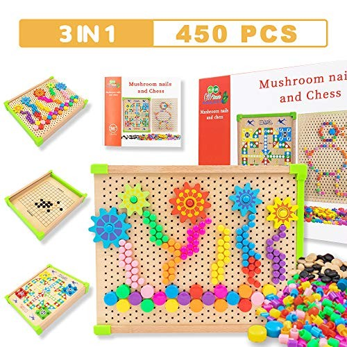 450 Pieces Wooden 3 in 1 Learning Educational Toys Mushroom Nails Mosaic DIY & Flight Game Go Set Preschool Creative Construction Building Blocks for Kids 4 5 6