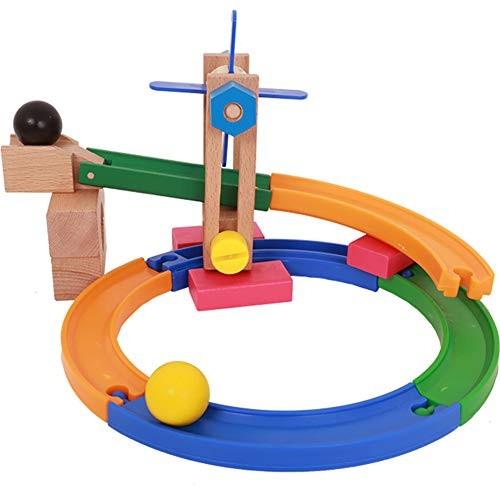 Alician Wooden Building Blocks Roller Coaster Track Ball Bearing Intelligence Educational Toy Set