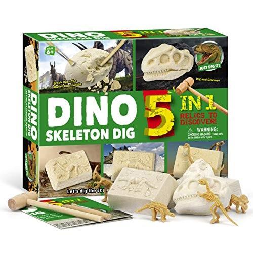 ShellKingdom Gemstone Dig Excavation KitGeology Kits for Kids Gem Collection Toys Geology Science Education Stem Gift 5 in 1 Dinosaur