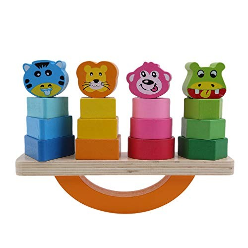 Timetries Baby Kids Toys for Children Block Animal Building Wooden Shape Sorter