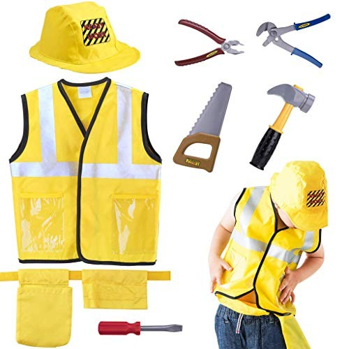 Construction Worker Costume Pretend Role Play Kit Set with Realistic AccessoriesEducational Engineering Dress Up Gift for Halloween Holidays Christmas Year Old Kids Toddlers Boys