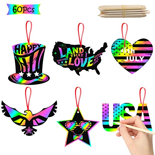 WATINC 60Pcs Patriotic Scratch Paper Cards Magic Art Rainbow Color DIY Craft Kit for Kids 4th of July Birthday Party Favors Decorations Independence Day Supplies Game Boys Girls