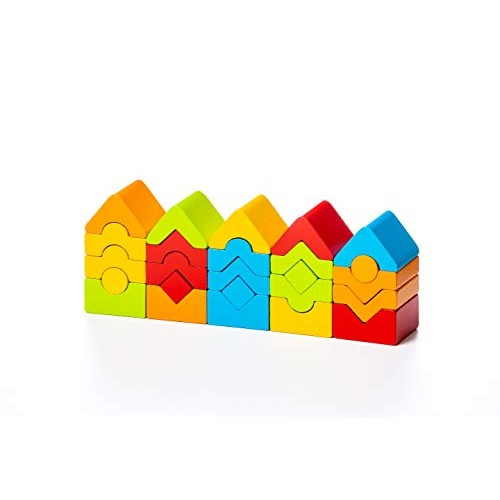 Wise Elk Tower Stacking Blocks Building for Toddlers 1-3 Year Includes 25 Colored Wooden Babies Kids