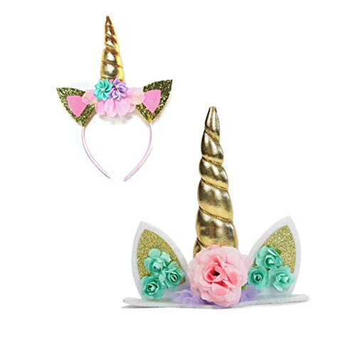 Unicorn Party Decorations Supplies Favors Set – Gold Cake Topper Reusable Horn and Cat Ear Flower Headband Head Band for Birthday Baby Shower Wedding Decoration Celebration
