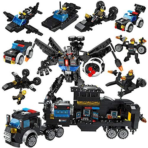 Lucky Doug 701PCS Building Bricks Set 26 in 1 Police Car Toys Can Build Transformers Heavy-Duty Cars Classic Creative Blocks Compatible with All Major Brands for Kids Ages 6+