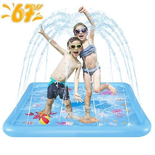 HLAOLA Sprinkler for Kids Splash Pad Play Mat 67 Inflatable Baby Wadding Pools Spray