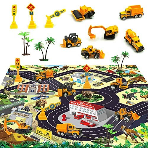 Unisex Alloy Engineering Trucks Toys Set With Car Rug Play Mat Education For Kids Party Cake Decorations Topper Birthday GiftMini Pocket Size Construction Models Vehicles Toy