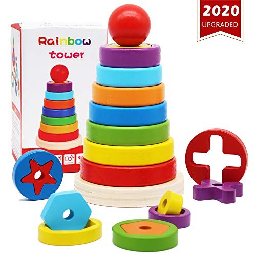 MHMYDIS Rainbow Tower Stacking Ring Toys Wooden Toddler Learning Color Recognition of Geometric Building Blocks Educational Exquisite Packaging Suitable for 2 3 and 4 Year Old