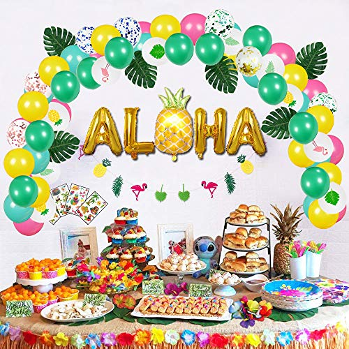 partyGO Luau Birthday Party Decorations Set 106 PCS – Aloha Banner Confetti Balloons Arch Drinking Umbrella Straws Tropical Leavesfor Hawaiian Theme Decorations Summer Beach Pool Party Baby Shower