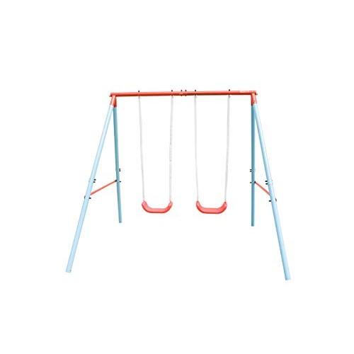 HooKung Swing Set with Two Swing Seats for Kids Play Outdoor Heavy-Duty A-Frame Play