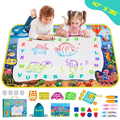 Obuby Aqua Magic Doodle Mat Kids 47 x 35 Inches Water Color Drawing Board Sea Word Coloring Writing Educational Toys Gift for Age 3 11 12 Year Old Toddler