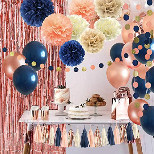32 Pack Navy Blue Rose Gold Party Decoration Kit – Balloons Curtains Paper FlowersTassel and Garland for Bridal Shower Baby Gender Reveal Graduation Bachelorette Decorations